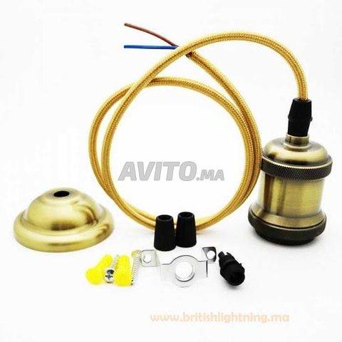 Suspension cable textile douille E27 Bronze 2m - 4