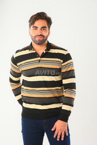 PULL COL POLO MANCHES LONGUES A RAYURES BGT012 - 3