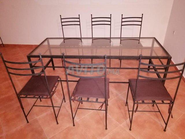 Table fer et vitre 6 chaises - 1