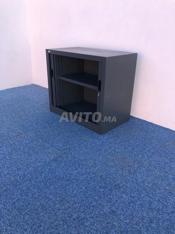 Armoire basse coulissante vinco gris  73x80cm - 4