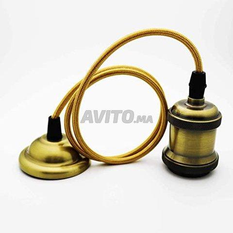 Suspension cable textile douille E27 Bronze 2m - 5