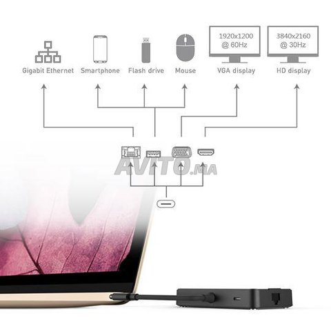 HUB USB-C Adaptateur Thunderbolt 7 en 1 - 6