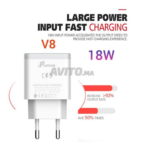 Plustar Quick Fast chargeur  V8 18W original - 1