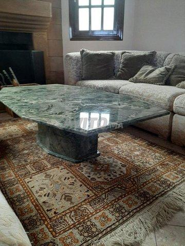 Vend table en marbre vert et sa colonne  - 1