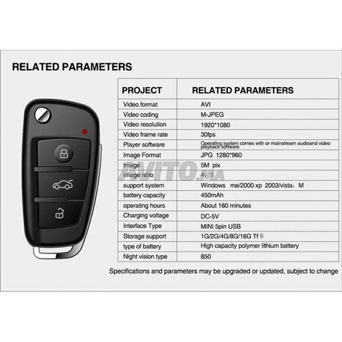 Clé de voiture caméra espion HD Motion Detection - 4