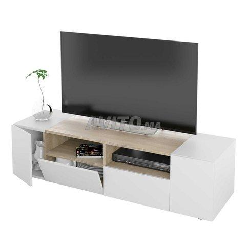 Meuble TV avec 4 portes (Blanc et chêne) 138 cm - 4