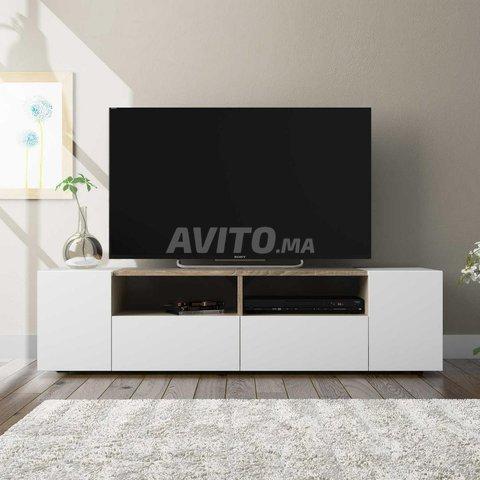 Meuble TV avec 4 portes (Blanc et chêne) 138 cm - 2