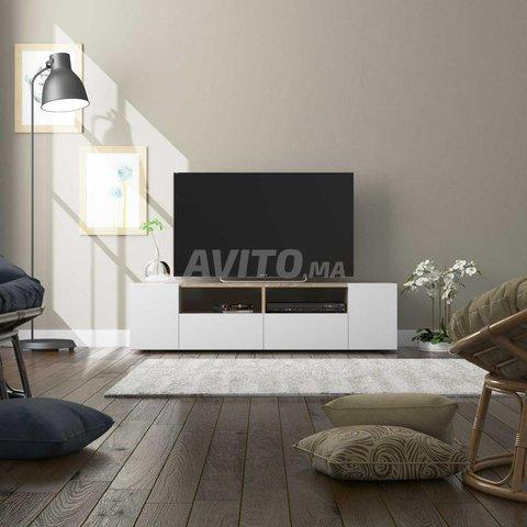 Meuble TV avec 4 portes (Blanc et chêne) 138 cm - 1