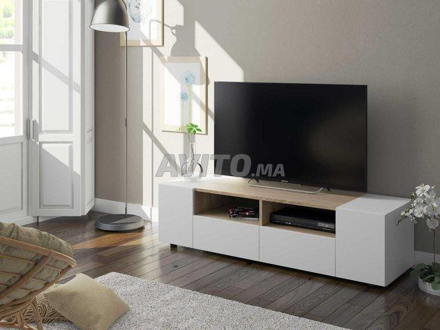 Meuble TV avec 4 portes (Blanc et chêne) 138 cm - 3