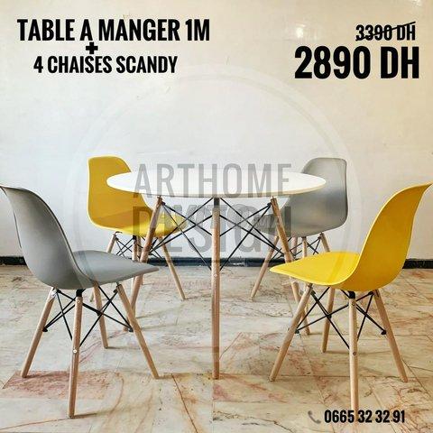 Table a manger ronde avec 4 chaises - 6