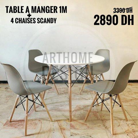 Table a manger ronde avec 4 chaises - 5