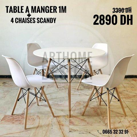 Table a manger ronde avec 4 chaises - 4