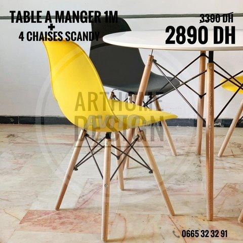 Table a manger ronde avec 4 chaises - 3