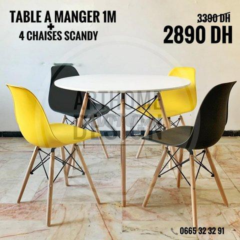 Table a manger ronde avec 4 chaises - 2