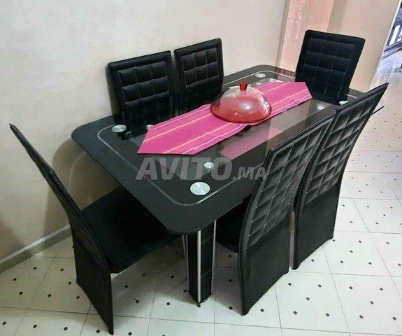 Salle à manger en cuir - 6 chaises (en bon état) - 1