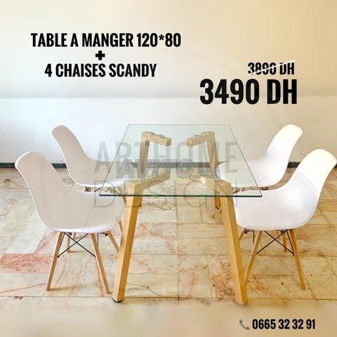 PROMO Table en verre trempe 120*80 avec 4 chaises  - 1