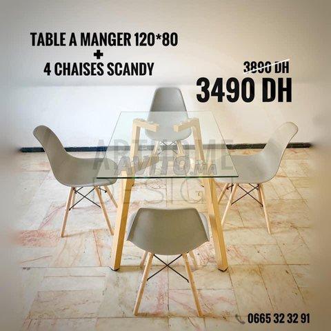 PROMO Table en verre trempe 120*80 avec 4 chaises  - 3