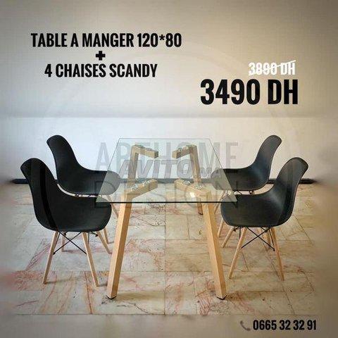 PROMO Table en verre trempe 120*80 avec 4 chaises  - 6