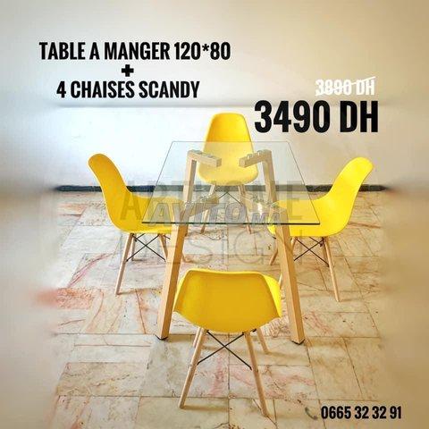 PROMO Table en verre trempe 120*80 avec 4 chaises  - 2