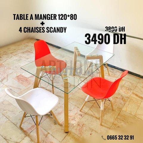 PROMO Table en verre trempe 120*80 avec 4 chaises  - 4