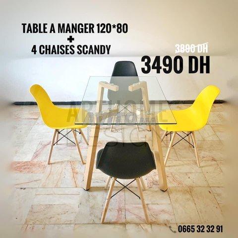 PROMO Table en verre trempe 120*80 avec 4 chaises  - 5