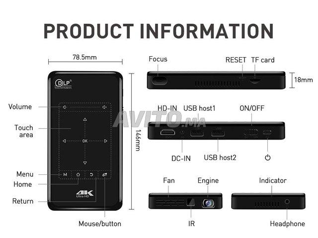 Projecteur P09-2 4K 3D DLP 2/16GB ROM Android 9.0  - 2