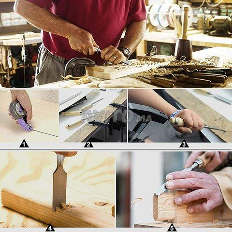 Jeu 6ciseaux à bois & pierre-Affûtage à coffert - 5