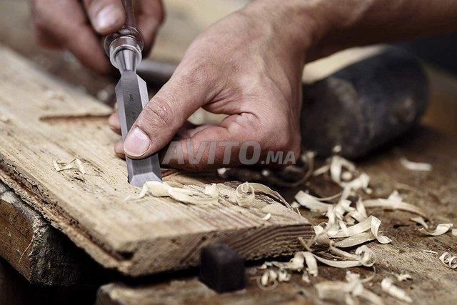 Jeu 6ciseaux à bois & pierre-Affûtage à coffert - 2