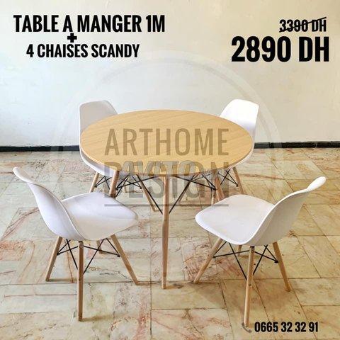 table a manger avec 4 chaises SCADINAVE - 1