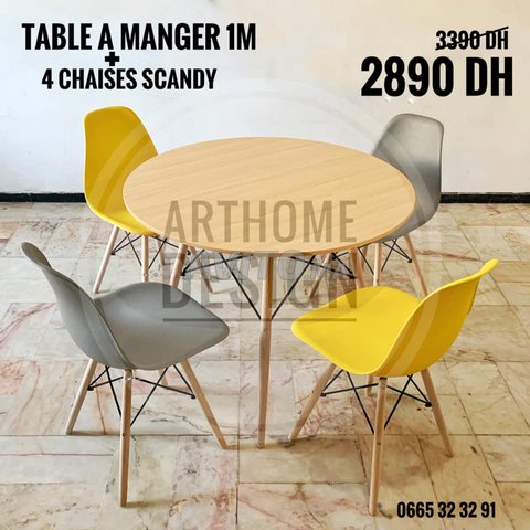 table a manger avec 4 chaises SCADINAVE - 3