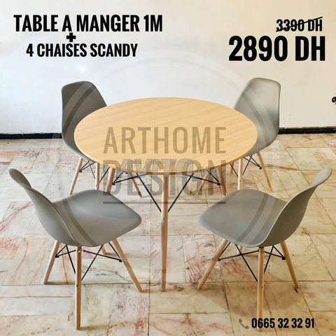 table a manger avec 4 chaises SCADINAVE - 4