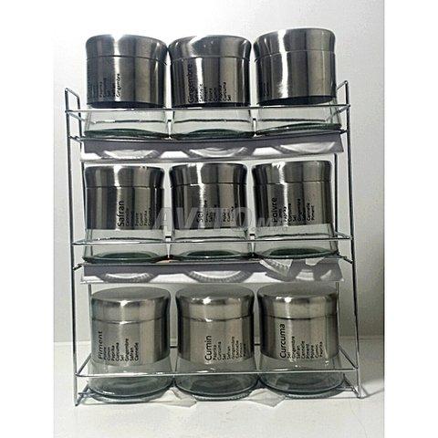 Présentoire à épice - 9 Pots en Verre Avec inox - 1
