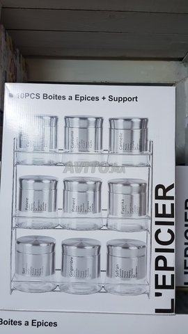 Présentoire à épice - 9 Pots en Verre Avec inox - 2